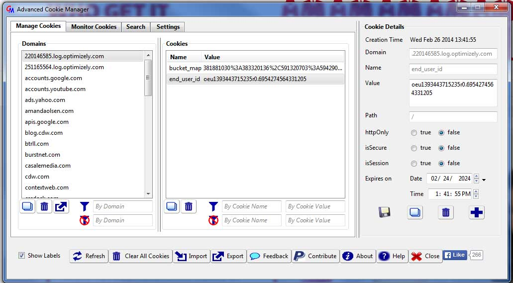 Screen shot of Advanced Cookie Manager
